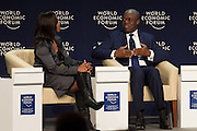 Kwesi Amissah-Arthur, Vice-President of Ghana engages with Lerato Mbele, Africa Business Correspondent, BBC World News, United Kingdom at the World Economic Forum on Africa 2015 in Cape Town. Copyright by World Economic Forum / Greg Beadle