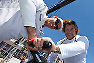FRANCE, Marseille. 19th June 2011. AUDI MedCup Marseille Trophy. Francesco Bruni, (left) Tactician on TP52, Audi Azzurra Sailing Team with  Andrea Lo Cicero, Italian rugby star.
