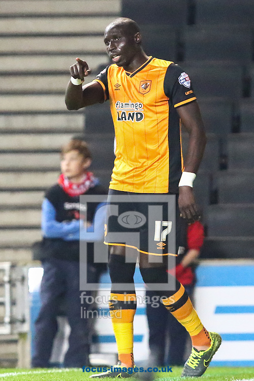 Mohamed Diame of Hull City celebrates scoring his team's second goal against Milton Keynes Dons to make it 0-2 during the Sky Bet Championship match at stadium:mk, Milton Keynes<br /> Picture by David Horn/Focus Images Ltd +44 7545 970036<br /> 31/10/2015