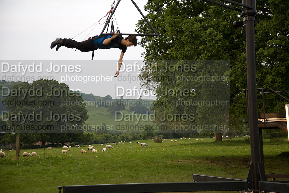 DAVID BIRKIN ON THE CARSTEN HOLLER FLYING MACHINE. , The Artists' Playground. Reconstruction 3: Contemporary Art at Sudeley Castle, 2008 In partnership with Phillips de Pury & Company and supported by Chanel. 31 May 2008. *** Local Caption *** -DO NOT ARCHIVE-© Copyright Photograph by Dafydd Jones. 248 Clapham Rd. London SW9 0PZ. Tel 0207 820 0771. www.dafjones.com.