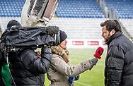 FODBOLD: Cheftræner Christian Lønstrup (FC Helsingør) giver interview til TV3 Sport før kampen i ALKA Superligaen mellem OB og FC Helsingør den 11. februar 2018 på Odense Stadion, EWII Park. Foto: Claus Birch.