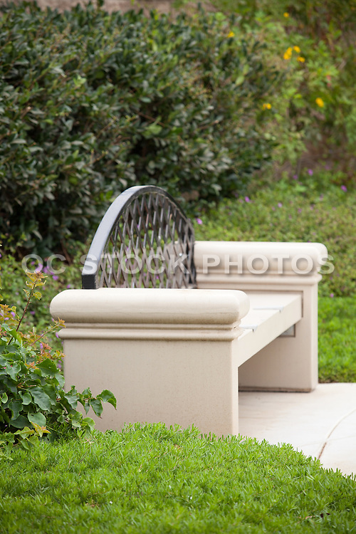 Stock Photo of Cement Park Bench