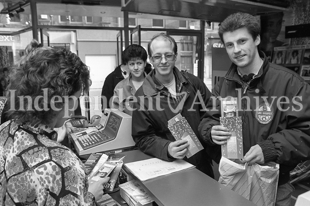 588-382<br /> Happy Bruce Springsteen fans, at the H.M.V. store in Henry St., who queued from early morning to purchase their tickets for the forthcoming concert. April 14, 1988.<br /> (Part of the NPA and Independent Newspapers Ireland)