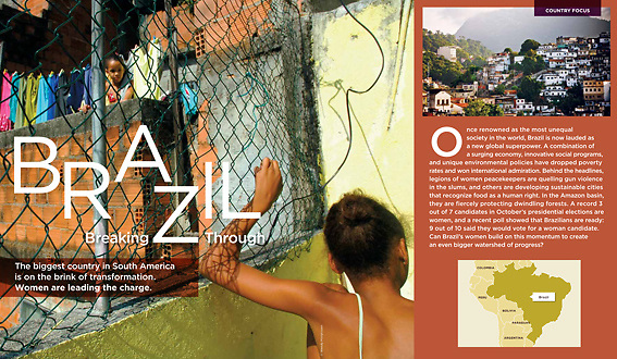 Picture from girls in the Rochina favela in Rio de Janeiro, Brazil, in World Pulse magazine, spring 2010