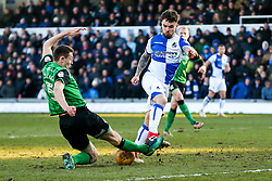 Dom Telford of Bristol Rovers is tackled by Murray Wallace of Scunthorpe United - Rogan/JMP - 24/02/2018 - FOOTBALL - Memorial Stadium - Bristol, England - Bristol Rovers v Scunthorpe United - EFL Sky Bet League One.