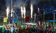 03.08.2014. Glasgow, Scotland. Glasgow Commonwealth Games. Closing Ceremony from Hampden Park. The commonwealth games foundation flag being handed over to Gold Coast Australia