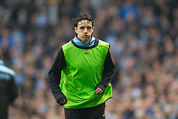 MANCHESTER, ENGLAND - Sunday, January 8, 2012: Manchester City's Owen Hargreaves in prepares to come on as a substitute against Manchester United during the FA Cup 3rd Round match at the City of Manchester Stadium. (Pic by Vegard Grott/Propaganda)