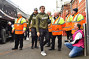 Kalvin Phillips (23) of Leeds United and Pontus Jansson (18) of Leeds United arriving at Ashton Gate Stadium before the EFL Sky Bet Championship match between Bristol City and Leeds United at Ashton Gate, Bristol, England on 9 March 2019.