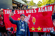 Fans queue of for photographs ahead of the Champions League semi-final leg 1 of 2 match between Barcelona and Liverpool at Camp Nou, Barcelona, Spain on 1 May 2019.