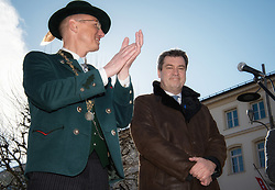 02.04.2018, Traunstein, GER, Georgi Ritt Traunstein 2018, im Bild Christian Kegel ( Oberbürgermeister von Traunstein ) und Markus Söder ( Bayerischer Ministerpräsident ) // during the traditionell Georgi Ritt on Easter Monday in. in Traunstein, Germany on 2018/04/02. EXPA Pictures © 2018, PhotoCredit: EXPA/ Erst Wukits