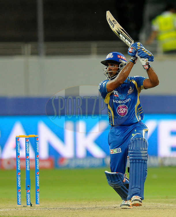 Ambati Rayudu of the Mumbai Indians bats during match 20 of the Pepsi Indian Premier League Season 2014 between the Mumbai Indians and the Sunrisers Hyderabad held at the Dubai International Stadium, Dubai, United Arab Emirates on the 30th April 2014<br /> <br /> Photo by Pal Pillia / IPL / SPORTZPICS