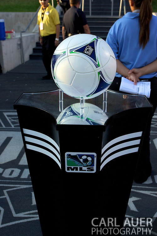 August 18th, 2012: The game ball awaits the start of the Colorado Rapids and Chivas USA soccer game at Dick's Sporting Goods Park in Commerce City, CO