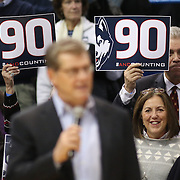 HARTFORD, CONNECTICUT- JANUARY 10: Head coach Geno Auriemma of the Connecticut Huskies speak to the crowd after his team after their ninetieth consecutive win during the the UConn Huskies Vs USF Bulls, NCAA Women's Basketball game on January 10th, 2017 at the XL Center, Hartford, Connecticut. (Photo by Tim Clayton/Corbis via Getty Images)