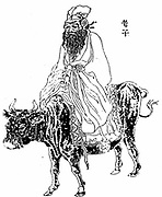 Lao-Tzu (6th century BC) Chinese philosopher and inspiration of Taoism. Lao-Tzu riding a buffalo.