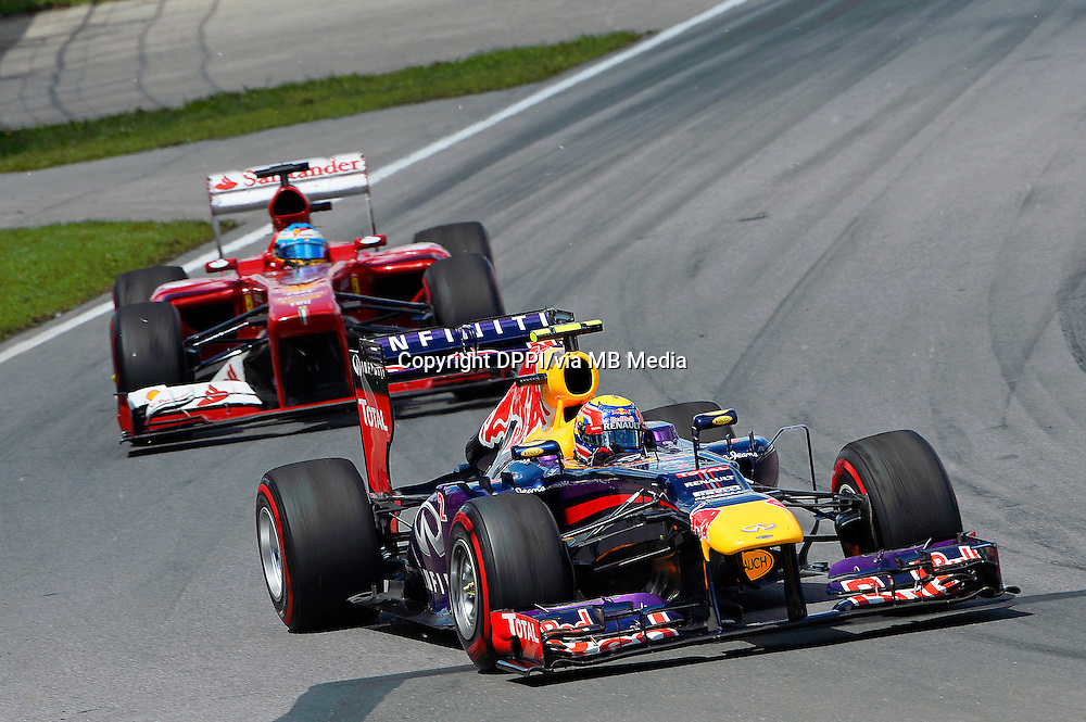 MOTORSPORT - F1 2013 - GRAND PRIX OF CANADA - MONTREAL (CAN) - 07 TO 09/06/2013 - PHOTO ERIC VARGIOLU / DPPI WEBBER MARK (AUS) - RED BULL RENAULT RB9 - ACTION<br /> ALONSO FERNANDO (SPA) - FERRARI F138 - ACTION