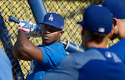 August 16, 2017 - Los Angeles, California, U.S. - Los Angeles Dodgers' Yasiel Puig during batting practice prior to a Major League baseball game against the Chicago White Sox at Dodger Stadium on Wednesday, Aug. 16, 2017 in Los Angeles. (Photo by Keith Birmingham, Pasadena Star-News/SCNG) (Credit Image: © San Gabriel Valley Tribune via ZUMA Wire)