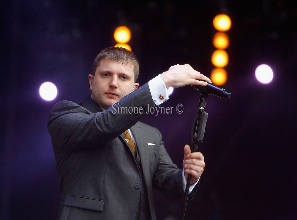 Plan B performs live on the  main stage during day three of the Isle of Wight Festival 2011 at Seaclose Park on June 12, 2011 in Newport, Isle of Wight.  (Photo by Simone Joyner)