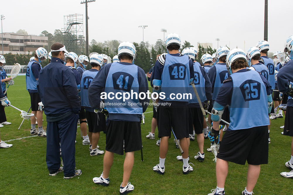03 April 2008: North Carolina Tar Heels men's lacrosse during a practice day in Chapel Hill, NC.