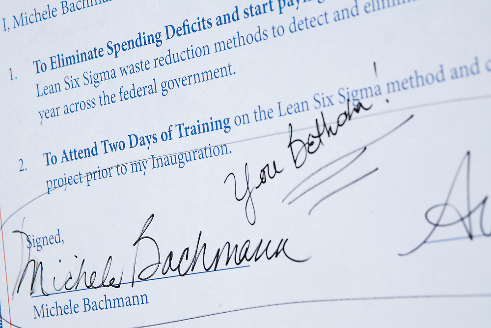 Republican presidential hopeful Michele Bachmann's signature appears on the Strong America Now pledge at a campaign stop on Saturday, August 6, 2011 in Cedar Rapids, IA.