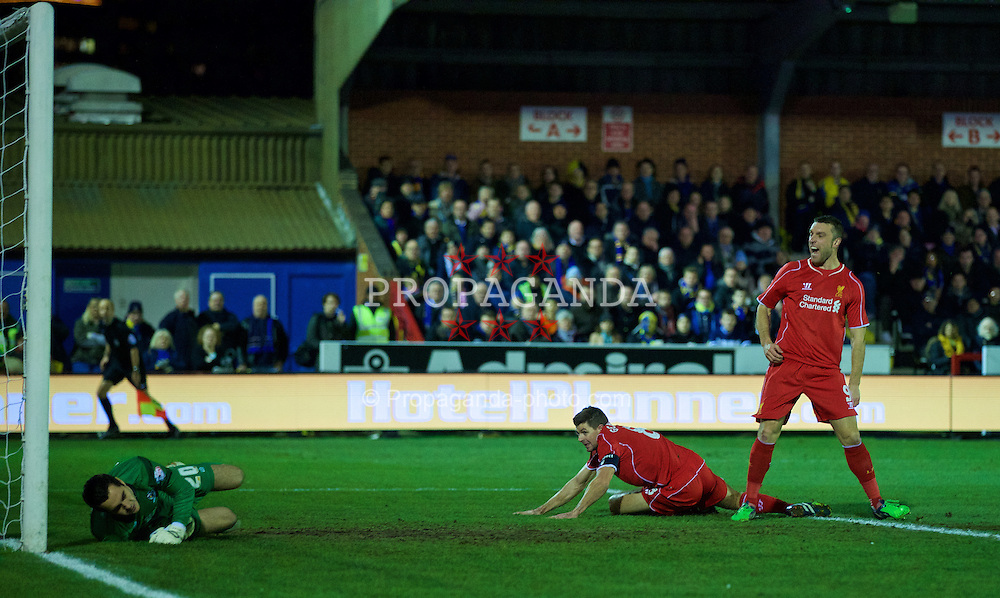 KINGSTON-UPON-THAMES, ENGLAND - Monday, January 5, 2015: Liverpool's captain Steven Gerrard celebrates scoring the first goal against AFC Wimbledon during the FA Cup 3rd Round match at the Kingsmeadow Stadium. (Pic by David Rawcliffe/Propaganda)