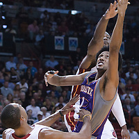17 November 2010: Miami Heat's shooting guard #3 Dwyane Wade blocks Phoenix Suns' shooting guard #1 Josh Childress during the Miami Heat 123-96 victory over the Phoenix Suns at the AmericanAirlines Arena, Miami, Florida, USA.