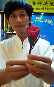 BEIJING, CHINA - (CHINA OUT)<br />  <br /> Roses made of human hair<br /> <br /> Barber Huang Xin poses with his roses made of human hair to greet the Chinese Valentine's Day  in Beijing, China. The Chinese Valentine's Day falls on the 7th day of the 7th month on the Chinese lunar calendar.<br /> ©Exclusivepix