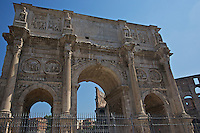 Arch of Constantine with coliseum in the background in ancient Rome.