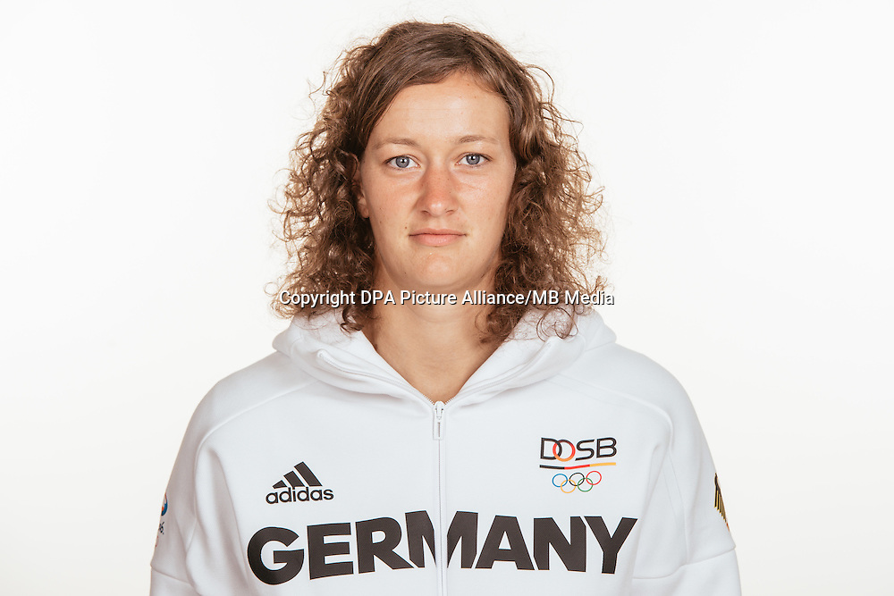 Almuth Schult poses at a photocall during the preparations for the Olympic Games in Rio at the Emmich Cambrai Barracks in Hanover, Germany, taken on 15/07/16 | usage worldwide