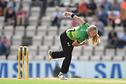 Freya Davies of Western Storm bowling during the Women's Cricket Super League match between Southern Vipers and Western Storm at the Ageas Bowl, Southampton, United Kingdom on 11 August 2019.