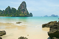 Railay Beach West The Thaiwand Wall Andaman Sea with Koh Poda Island on horizon South Thailand&amp;#xA;<br />