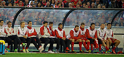 MELBOURNE, AUSTRALIA - Wednesday, July 24, 2013: Liverpool's Luis Suarez sits on the bench as a substitute against Melbourne Victory during a preseason friendly match at the Melbourne Cricket Ground. (Pic by David Rawcliffe/Propaganda)