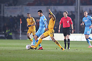 Conor Thomas and Joss Labadie during the EFL Sky Bet League 2 match between Newport County and Cheltenham Town at Rodney Parade, Newport, Wales on 1 January 2020.
