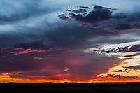 Colourful dusk skyline with oranges, purples, blues and yellows, Benfontein Nature Reserve, Northern Cape, South Africa