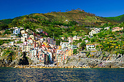 The village of Riomaggiore from the water, Cinque Terre, Liguria, Italy