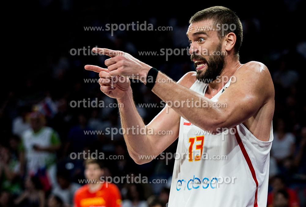 Marc Gasol of Spain reacts during basketball match between National Teams of Slovenia and Spain at Day 15 in Semifinal of the FIBA EuroBasket 2017 at Sinan Erdem Dome in Istanbul, Turkey on September 14, 2017. Photo by Vid Ponikvar / Sportida