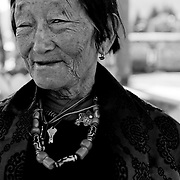 Portrait of a bhutanese old woman at the Memorial Chorten, Thimphu, Bhutan, Asia