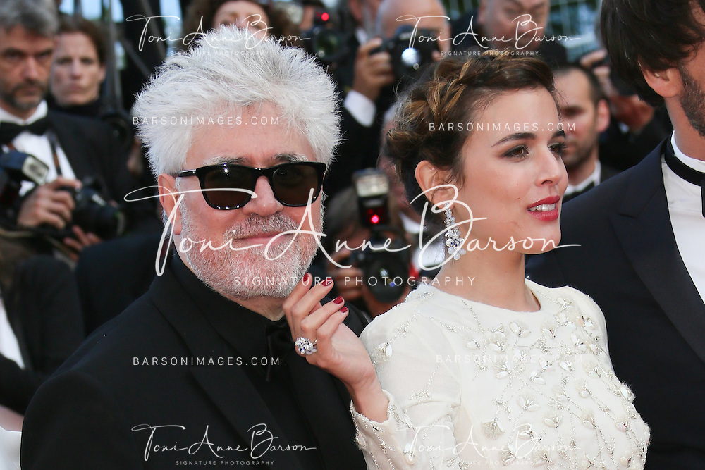 "CANNES, FRANCE - MAY 17:  Pedro Almodovar and Adriana Ugarte attend a screening of ""Julieta"" at the annual 69th Cannes Film Festival at Palais des Festivals on May 17, 2016 in Cannes, France.  (Photo by Tony Barson/FilmMagic)"