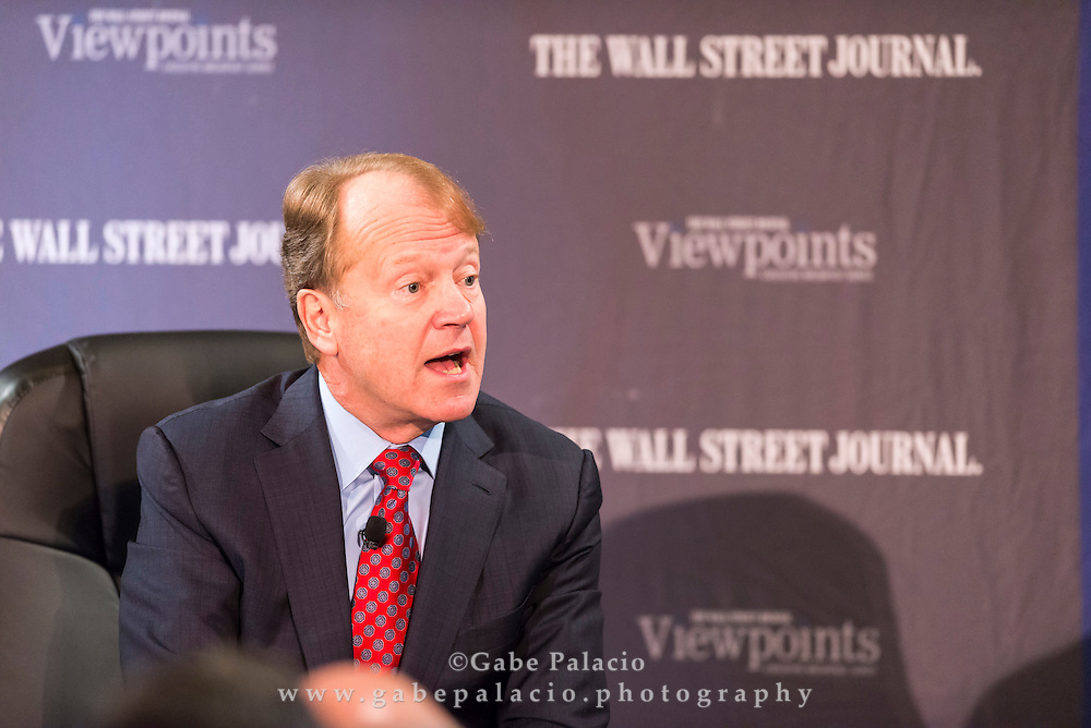 The Wall Street Journal Viewpoints Executive Breakfast Series featuring  and John T. Chambers, Chairman and CEO of Cisco in New York City on September 24, 2014. (photo by Gabe Palacio)