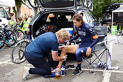 Barbara Guarischi (ITA) applies some pre-race heat at Stage 3 of 2019 OVO Women's Tour, a 145.1 km road race from Henley-on-Thames to Blenheim Palace, United Kingdom on June 12, 2019. Photo by Sean Robinson/velofocus.com