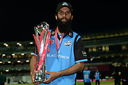 Moeen Ali with the Vitality Blast trophy during the final of the Vitality T20 Finals Day 2018 match between Worcestershire Rapids and Sussex Sharks at Edgbaston, Birmingham, United Kingdom on 15 September 2018.