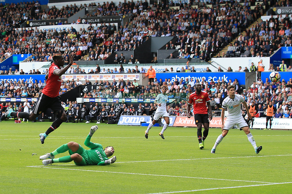 19 August 2017 -  Premier League - Swansea City v Manchester United - Paul Pogba of Manchester United scores their 3rd goal - Photo: Marc Atkins/Offside