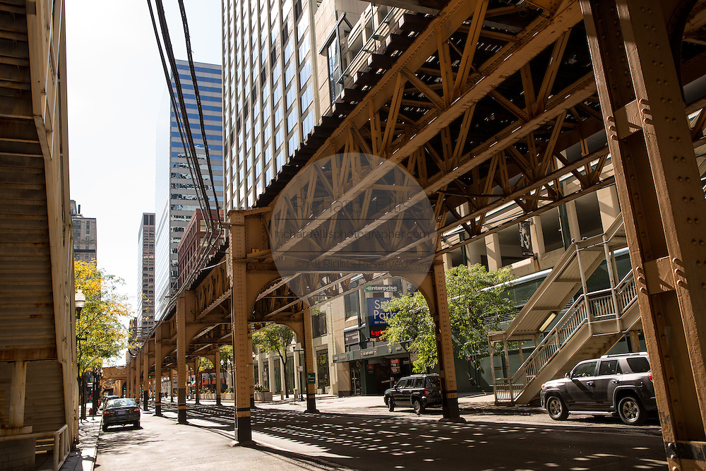 Elevated train line known as the L in the Loop District in Chicago, IL.