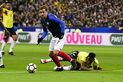 March 23, 2018 - St Denis, France, France - Antoine Griezmann (Fra) vs Yerry Mina  (Credit Image: © Panoramic via ZUMA Press)