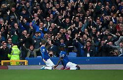Gylfi Sigurdsson of Everton (L) celebrates after scoring his sides second goal - Mandatory by-line: Jack Phillips/JMP - 19/10/2019 - FOOTBALL - Goodison Park - Liverpool, England - Everton v West Ham United - English Premier League
