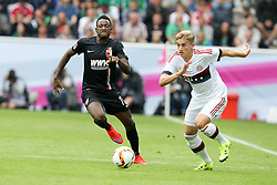 12.07.2015, Stadion im Borussia Park, Moenchengladbach, GER, Telekom Cup, FC Bayern Muenchen vs Borussia Moenchengladbach, im Bild l-r: im Zweikampf, Aktion, mit Abdul Rahman Baba #17 (FC Augsburg) und Sinan Kurt #24 (FC Bayern Muenchen) // during the German Telekom Cup Match between FC Bayern Muenchen and Borussia Moenchengladbach at the Stadion im Borussia Park in Moenchengladbach, Germany on 2015/07/12. EXPA Pictures &copy; 2015, PhotoCredit: EXPA/ Eibner-Pressefoto/ Kolbert<br /> <br /> *****ATTENTION - OUT of GER*****