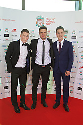 LIVERPOOL, ENGLAND - Thursday, May 12, 2016: Harry Wilson, Tom Brewitt and Sergi Canos arrive on the red carpet for the Liverpool FC Players' Awards Dinner 2016 at the Liverpool Arena. (Pic by David Rawcliffe/Propaganda)