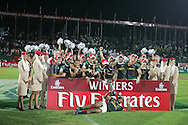 South Africa celebrate their 19-12  cup final win. IRB Emirates airline Dubai sevens 2008.cup  final match action between  South Africa and England  at the Sevens Stadium in Dubai on Sat 29th November 2008..pic by Andrew Orchard.  Andrew Orchard sports photography, tel 07974 069 129