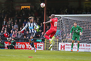 Anthony Straker clears the ball from Rolando Aarons during the Pre-Season Friendly match between York City and Newcastle United at Bootham Crescent, York, England on 29 July 2015. Photo by Simon Davies.