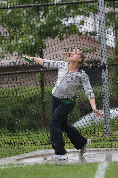 of  competes in the senior girls discus at the 2013 OFSAA Track and Field Championship in Oshawa Ontario, Thursday,  June 6, 2013.<br /> Mundo Sport Images / Sean Burges