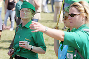 Women wear Green Shirt at Lega Nord (Northern League party) meeting in Pontida, Sunday, June 14, 2009. .